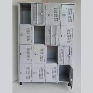Armário vestiário em aço 16 portas