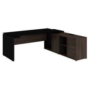 Mesa diretor dinâmica em L com tampo de vidro e armário pedestal 180cm Edge