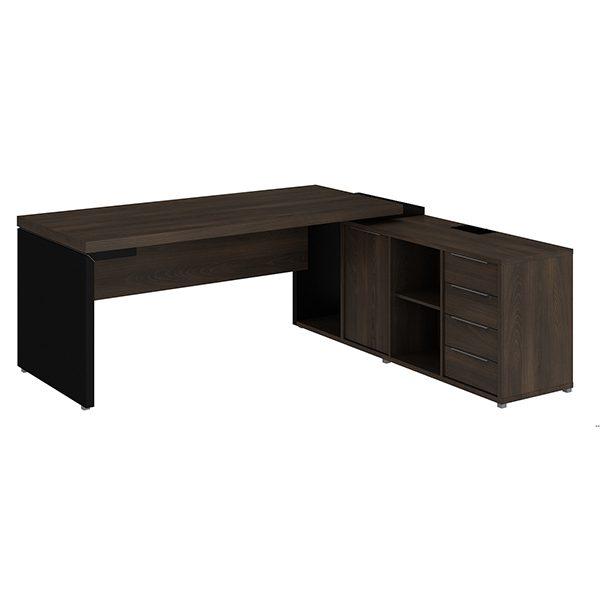 Mesa diretor dinâmica em L com armário pedestal 180cm Edge