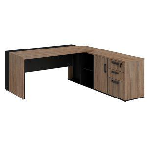 Conjunto diretor dinâmico Mesa diretor em L com armário pedestal com 1 porta, 2 gavetas e 1 gaveta pasta suspensa MDP Prius